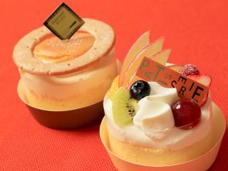 米・糀 洋菓子 MINOV_米の器(うつわ)・マスカルポーネ【奥】とフルーツ【手前】