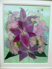 両親贈呈用の花束を押し花に|披露宴で、花嫁が母親に感謝を込めて贈った花束。平面仕上げの押し花でも立体...