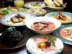 大皿料理(一例) 大人数で取り分けて楽しんで頂くコース。 前菜からパスタ、ピザ、メインまで、色々なお...