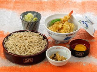 ミニ天丼御膳…970円|二八せいろそば ミニ天丼 香の物 一菜