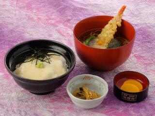 ミニ山かけ丼天ぷらそば御膳…970円|ミニ山かけ丼 ミニ天ぷらそば又はうどん 一菜 香の物
